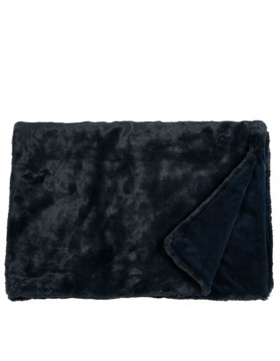 Furry Webpelzdecke in navy-blue