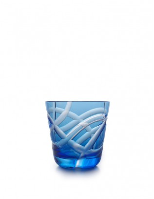 Rotter Glas Via in hellblau